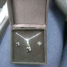 Black Stone Necklace / Earrings Set