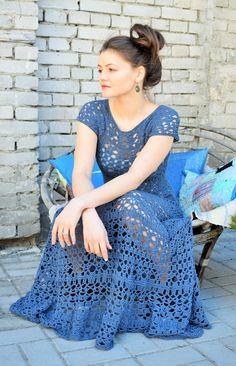 Jeans blue boho crochet dress vivrutdesigns.blogspot.com