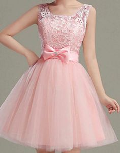 pink applique tulle school event dress jewel bow knot prom homecoming dress · Grace Girls Dress · Online Store Powered by Storenvy Cheap Prom Dresses Uk, Dama Dresses, Event Dresses, Dresses For Teens, Pretty Dresses, Homecoming Dresses, Beautiful Dresses, Short Dresses, Girls Dresses