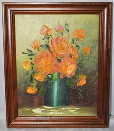 Framed Oil Painting on Board of Bunch of Roses in a Vase, Signed Mavati
