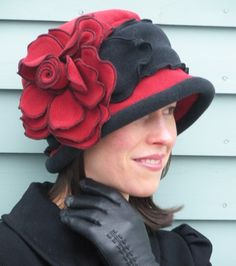 Giant Rose Flapper Cloche - Charlotte - Red and Black. $160.00, via Etsy.  Wonderful hats, by a wonderful lady.