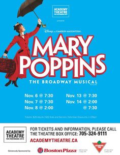 Mary Poppins starts this Friday @AcademyTheatre1 in #Lindsay #artsKN