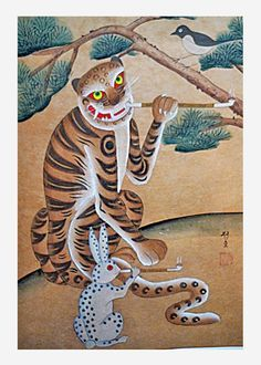 Korean Tiger and Rabbit, smoking pipes