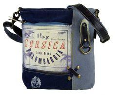 Kleine Sunsa Umhängetasche in schönen blau tönen mit tollem Corsica Aufdruck.