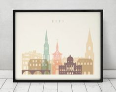 Bern art print, Poster, Wall art, Switzerland cityscape, Bern skyline, City print, Travel poster, Home Decor, Gift, ArtPrintsVicky