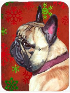 French Bulldog Frenchie Red Snowflakes Holiday Christmas Mouse Pad, Hot Pad or Trivet LH9580MP