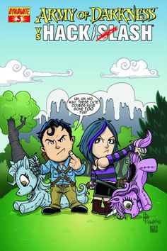 HACK/SLASH Image of the Day 3/3/2014  One of the 'missing' covers for ARMY OF DARKNESS VS HACK/SLASH.  This was solicited as the Subscription Variant for issue 3, but replaced by a different image.  Art by Ken Haeser  #hackslash #hackslashiotd #armyofdarkness #mylittleponyabuse #kenhaeser