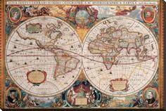 Antique Map, Geographica, Ca. 1630 - Sträckt Canvastryck av Henricus Hondius på AllPosters.se