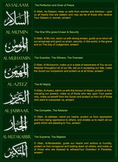 quizanswers2 ANSWERS to Yesterdays NAMES of ALLAH REVIEW QUIZ