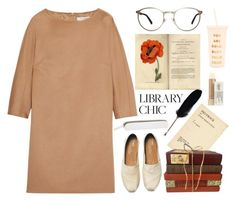 Library chic Leeds met by thestyleartisan on Polyvore featuring MaxMara, TOMS, GlassesUSA, Kiehl's and ban.do