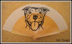 Staffie Hand Fan by Kate Dengra