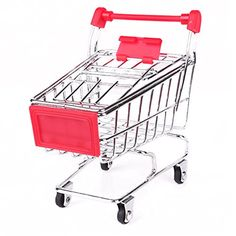 Mini Supermarket Shopping Cart Handcart Pen Holder Desk Organizer Kid Toy -- To view further for this item, visit the image link.