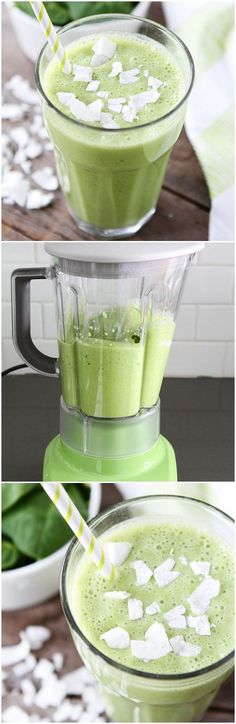 Coconut Green Smoothie Recipe on twopeasandtheirpod.com Love this simple green smoothie! #healthy #vegetarian
