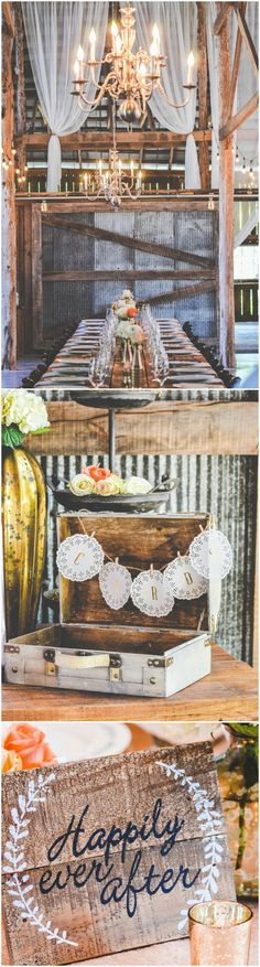 Nashville wedding, barn, rustic, gold chandelier, wooden sign, vintage suitcase, banner // Images by Katelyn Nicole