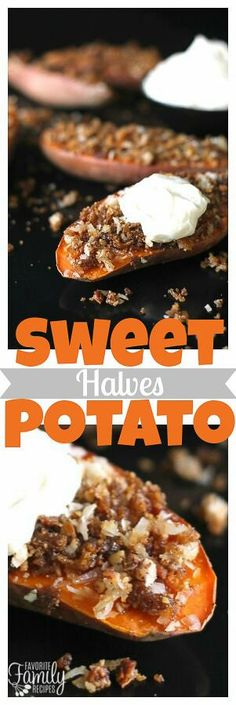 Coconut Pecan Sweet Potato Halves are a fun, unique way to have your Thanksgiving sweet potatoes.  Not as much sugar as most recipes and tastes just as good! via @favfamilyrecipz