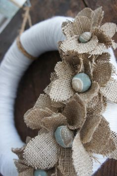 recycled yarn, burlap, fabric covered buttons