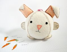 Make Your Own Rabbit Fattie Toy Kit Sewing by cupcakesforclara, Craft Kits, Craft Projects, Felt Projects, Baby Toys, Kids Toys, Year Of The Rabbit, Kitten Toys, How To Make Toys, Bunny Crafts