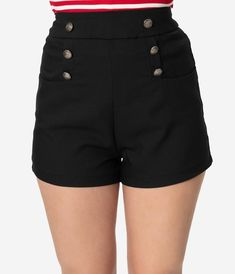 Pin Up Shorts - High-Waisted & Sailor Shorts – Unique Vintage Sailor Shorts, Sailor Outfits, Topshop Jeans, 1940s Fashion, Girl Fashion, Fashion Ideas, Vintage Brand Clothing, Diy Clothing, Minecraft