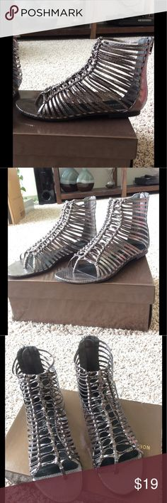 ⭐️ Michael Shannon Braided Sandals Pewter colored straps in a knotted design. Back zip. Flat. Excellent condition. Michael Shannon Shoes Sandals