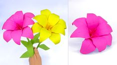 This origami flower is made from colored paper. If you are looking for a gift idea with paper, make these paper flowers origami lily. This is an easy c. Origami Lily, 3d Origami, Origami Flowers, Paper Flowers, A4 Paper, Ruler, Scissors, Diy Tutorial, Mother Day Gifts