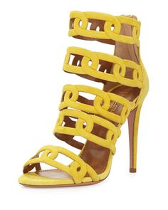 Chain+Me+Up+Open-Toe+Suede+Bootie,+Yellow+by+Aquazzura+at+Neiman+Marcus.
