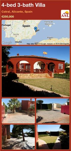 Villa for Sale in Catral, Alicante, Spain with 4 bedrooms, 2 bathrooms - A Spanish Life Portugal, Window Glazing, Alicante Spain, Bbq Area, Double Garage, Family Bathroom, Entrance Gates, Double Bedroom, Wooden Flooring