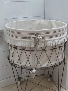 Ruffled hamper liner , French wire hamper liner , Grain sack basket liner , Farmhouse decor , Laundry room decor