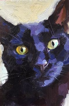 by Katya Minkina, Oil, 6 x 4 Black Cat Painting, Black Cat Art, Black Cats, Watercolor Cat, Guache, Cat Drawing, Animal Paintings, Oeuvre D'art, Pet Portraits