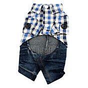 Plaid Dog Shirt with Denim Style Jeans (XS-XL... – USD $ 14.39