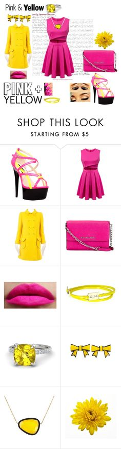 """Pink and Yellow"" by tinabtr on Polyvore featuring The Highest Heel, MICHAEL Michael Kors, Illamasqua, McQ by Alexander McQueen, Gemvara, Christina Debs, ColoredPrints and pinkandyellow"