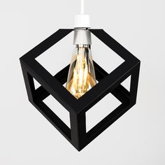 The MiniSun Eschor Black Cube Modern Pendant Ceiling Lamp Shade is a contemporary pendant shade featuring a boxed construction of thick black batons. Glass Pendant Shades, Drum Pendant, Oval Pendant, Ceiling Pendant, Cubes, Metal Puzzles, Vintage Light Bulbs, Ceiling Lamp Shades, Metal Drum