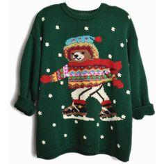 Vintage 90s Ice Skating Teddy Bear Sweater Green Ugly Christmas... ($66) ❤ liked on Polyvore featuring tops, cocktail tops, vintage tops, special occasion tops, holiday tops and green top