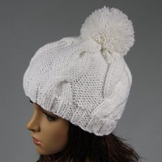 Hand knitted warm bobble hat for women. Soft and comfortable ladies beanie…