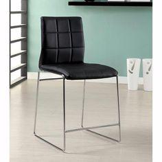 Benzara Kona Ii Black Metal/Wood Counter-height Chair With Chrome Finish (Set of 2) (chrome, leatherette, wood)