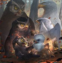 owlbear playing with griffon by Rudy Siswanto