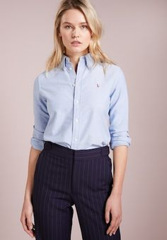 Polo Ralph Lauren HARPER - Button-down blouse - blaine wash for Free delivery for orders over Women Business Attire, Polo Shirt Outfit Women's, Blue Shirt Outfits, Blue Polo Shirts, Polo Shirt Women, Polo Ralph Lauren, Mode Bcbg, Office Outfits Women, Moda Masculina