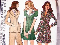 1970s Sewing Pattern Womens Three Piece Suit Pants Skirt Jacket Puff Sleeves Cap Blouse Blazer Misses Size 12 by PatternsFromThePast