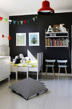 A Touch of Drama: Black & Navy Accent Walls in Kids Rooms - Apartment Therapy - Navy Accent Walls, Navy Walls, Scandinavian Kids Rooms, Deco Kids, Home Decoracion, Kids Room Design, Black Walls, Kid Spaces, Kids Decor