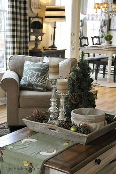 A Cozy Family Room for Christmas--I like the set-up of this room for everyday living