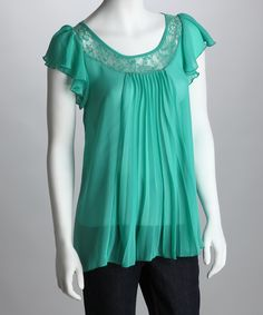 Rain Green Pleated Lace Angel-Sleeve Top