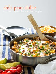Shawn from @iwashyoudry adds a great twist to this Chili-Pasta Skillet! We love that it is a one-pan dinner: http://www.bhg.com/blogs/delish-dish/2014/09/10/guest-blogger-i-wash-you-dry-chili-pasta-skillet/?socsrc=bhgpin091214chilipastaskillet