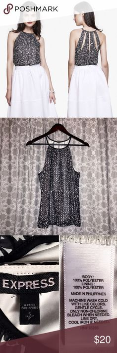 🆕[express] high neck cut-out back cami • style name: high neck cut-out back cami • color: b&w chevron print • high neck cami/halter • back cutout details • elastic hem, button closure • fully lined • condition: nwot, never worn ____________________________________ ✅ make an offer!     ✅ i bundle!                      ⛔️ posh compliant closet & no trades Express Tops Blouses