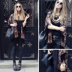 Katerina Kraynova - Klasse 14 Watch, Sheinside Kimono, Mango Pants, Bag, Booties, Zaful Necklace - Dark Florals