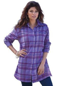 Roamans Plus Size Flannel Plaid Bigshirt (Purple Lily Plaid,18 W) Roamans. $22.49