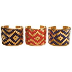 Z Designs Gold metal cuff with woven Ikat design ❤ liked on Polyvore