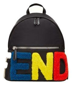 ba42e46b3ccf Fendi Colorful Logo Black Leather Shearling Backpack