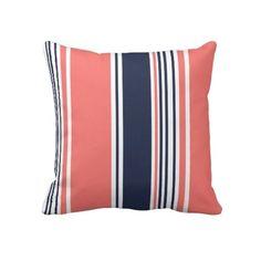 Pink and Blue Modern Stripes Throw Pillows