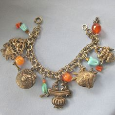 Chunky Antique Silver Dangling CHINESE Charm Bracelet