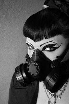 .Gas Mask on #Goth girl