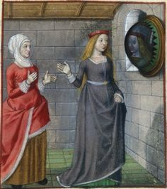 end of the 15th century (ca. 1490-1500) Netherlands - Bruges  London, British Library  Harley 4425: Roman de la Rose by Guillaume de Lorris and Jean de Meun  fol. 113r, 114r, 116v - Bel Accueil (Fair Welcome) and la Viellie (the Duenna)  http://www.bl.uk/catalogues/illuminatedmanuscripts/record.asp?MSID=7465&CollID=8&NStart=4425